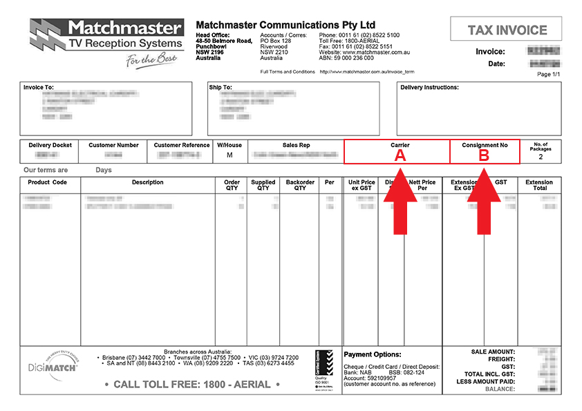 Matchmaster Tax Invoice Example